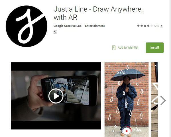 تطبيق الرسم الخطي Just a Line - Draw Anywhere, with AR