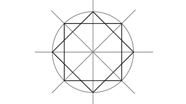 دائرة وأربعة أقطار إرشادية لرسم النجمة الثمانية