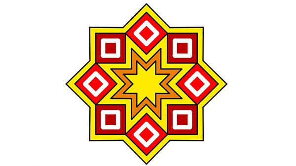 النجمة الثمانية ملونة