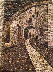 رسم شارع بالحجارة