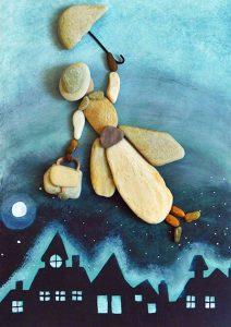 رسم امرأة بالحجارة