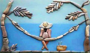 رسم شاطئ بالحجارة